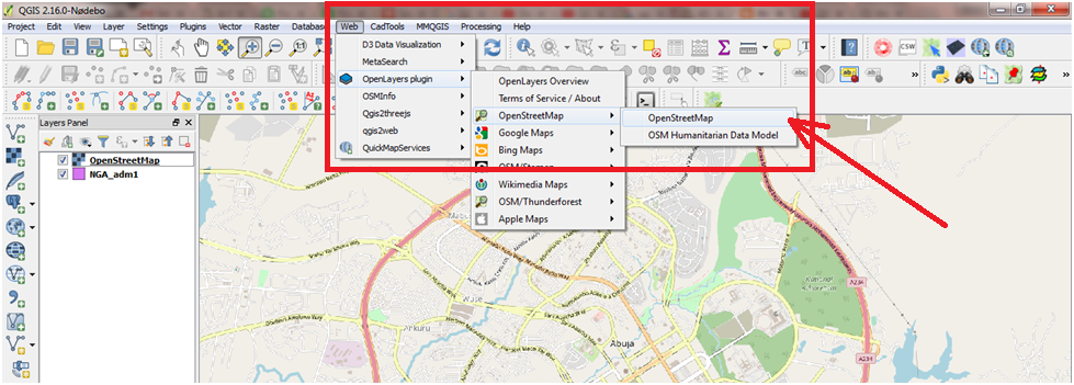 Geospatial solutions expert convert openstreetmap of abuja in when the openstreetmap layer finished loading zoom to abuja metropolis or any area you want to download its vector map gumiabroncs Choice Image