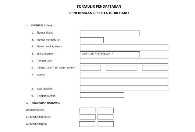Contoh Formulir Pendaftaran Penerimaan Peserta Didik Baru