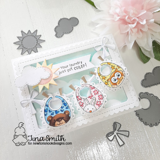 Baby Bibs Clothesline Card by Tina Smith | Bitty Bibs Stamp Set, Baby Bib Die Set and Sky Scene Builder Die Set by Newton's Nook Designs #newtonsnook #handmade
