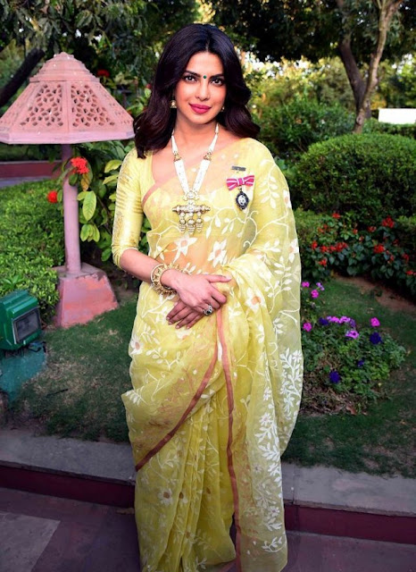 Priyanka Chopra At Padma Shree Award in Yellow Traditional Sari Blouse
