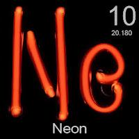 Neon elementi üzerinde neonun simgesi, atom numarası ve atom ağırlığı.