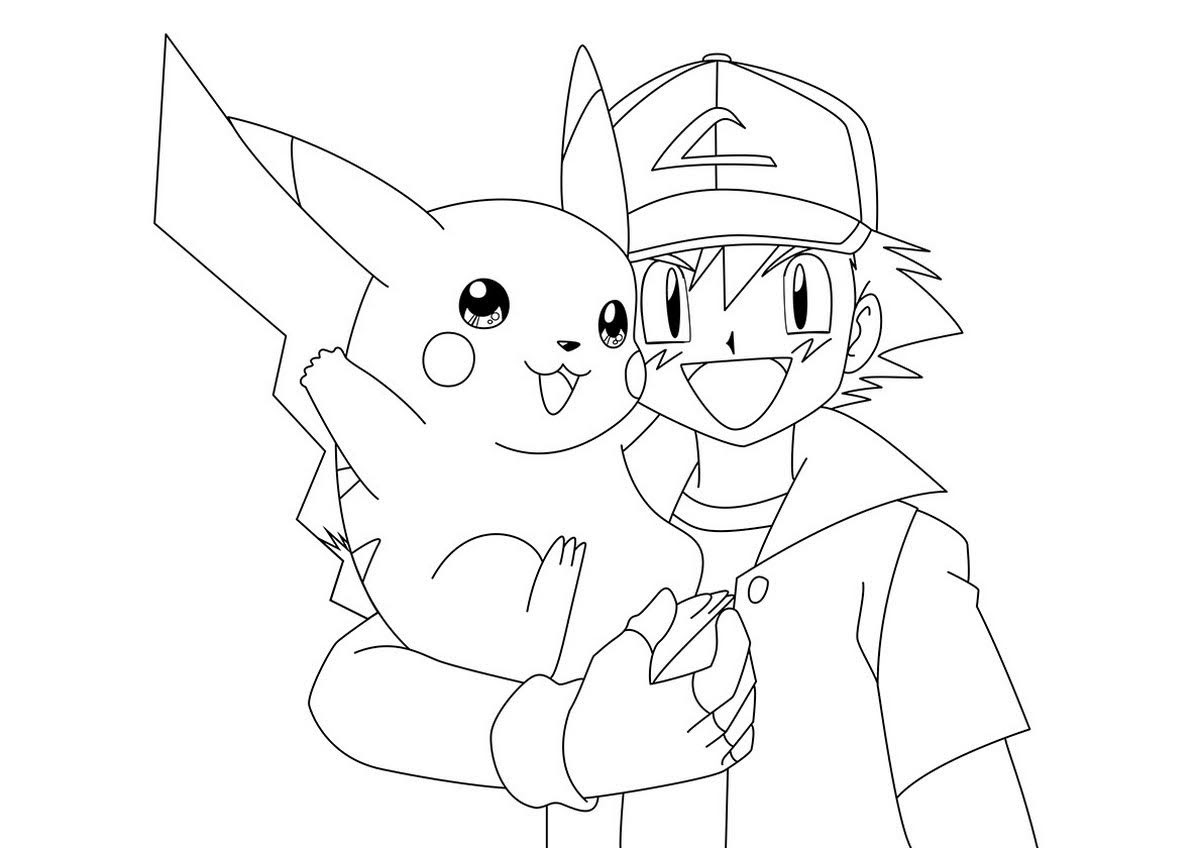 full page pokemon go ash and pikachu coloring sheets drawing line art free to print and color