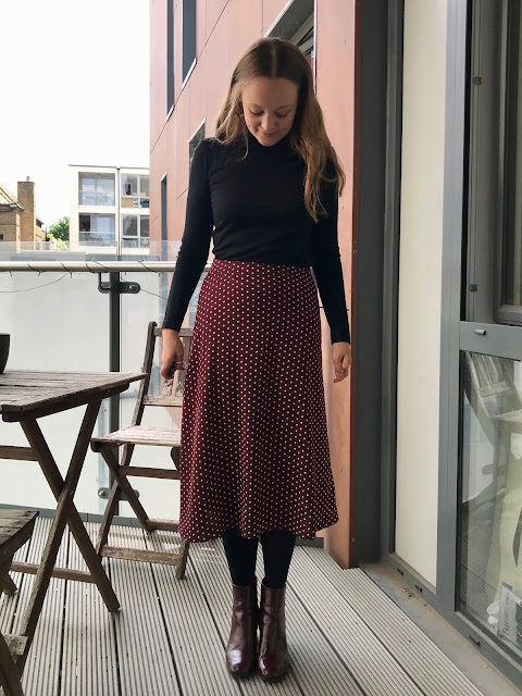Diary of a Chain Stitcher: Tessuti Evie Bias Skirt in Maroon Polka Dot Polyester Crepe from The Fabric Store