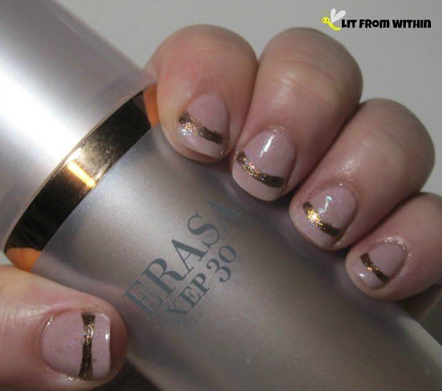 Soft-focus frosted nails with a rose-gold stripe, inspired by my Erasa XEP30.  The base is LynBDesigns Flop, and the stripe is SephoraX Alchemy II.