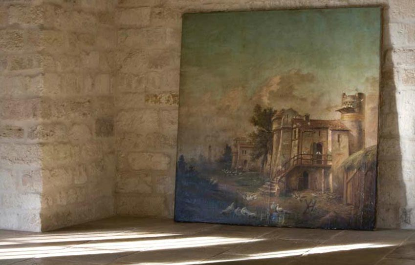 Reclaimed stone wall, oil painting via Chateau Domingue as seen on linenandlavender.net