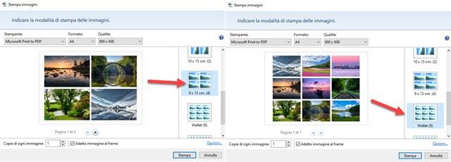 tabella di immagini per ogni pagina di PDF