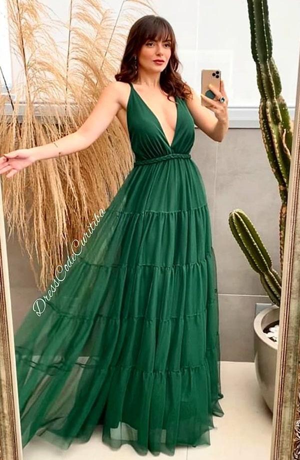 vestido longo verde escuro para madrinha de casamento