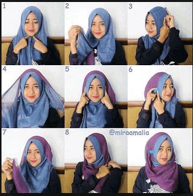 Tutorial Hijab memakai Kerudung Rawis Segi Empat Model Jilbab Terbaru dan Simple