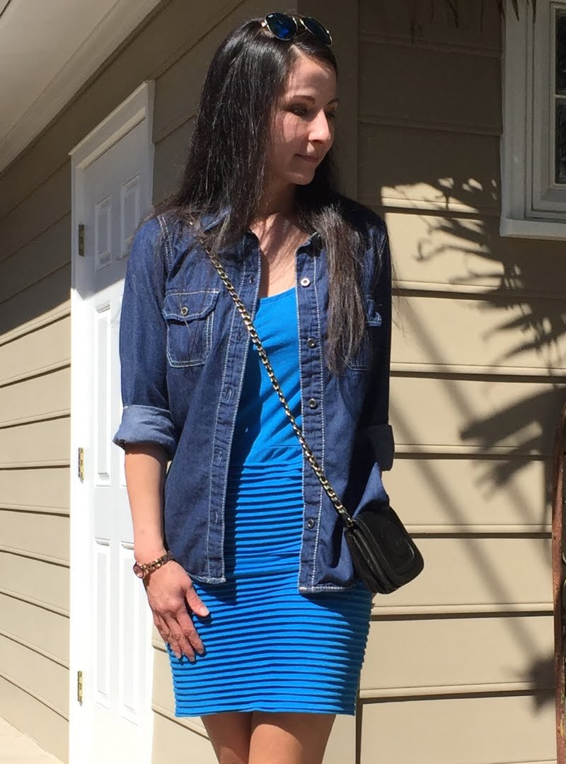 Blue and Jean Outfit - close up