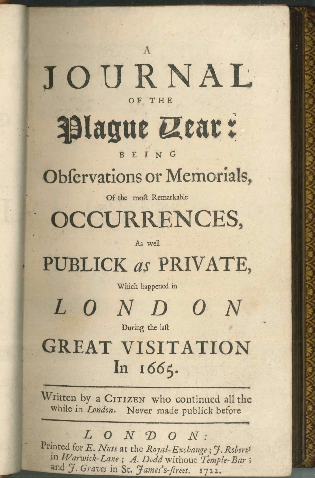 "The title page for Defoe's ""Journal of the Plague Year."""