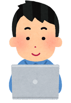 パソコンを使う人のイラスト(男性・笑顔)