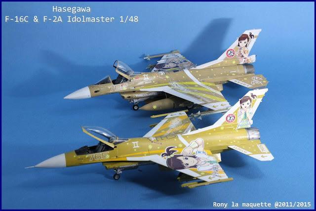 Maquettes du Mitsubishi F-2A Idolmaster &  F-16C Idolmaster d'Hasegawa au 1/48.