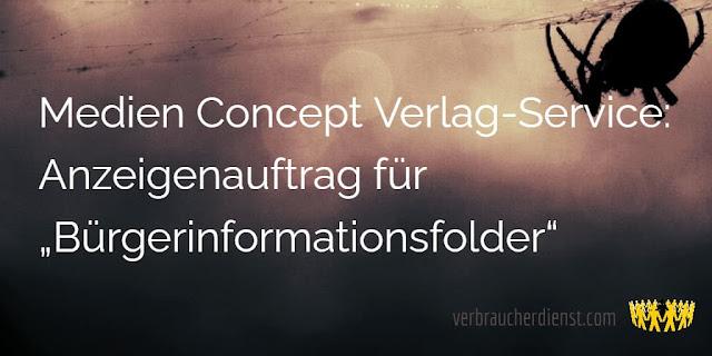 """Medien Concept Verlag-Service: Anzeigenauftrag für """"Bürgerinformationsfolder"""""""