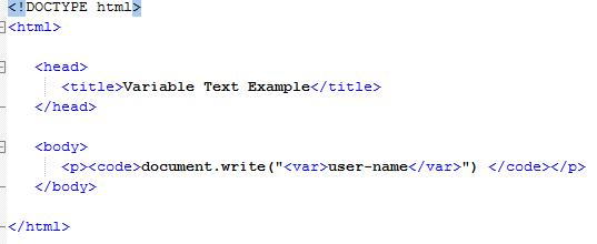 HTML Programming Variables