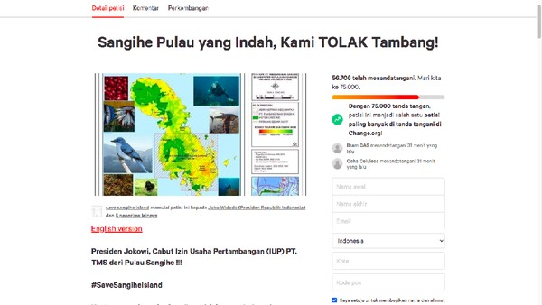 Terus Tambah! 69 Ribu Orang Teken Petisi Minta Izin Tambang di Sangihe Dicabut