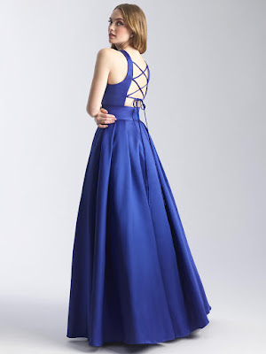 High Neck Prom Dress by Madison James Royal Blue color back side