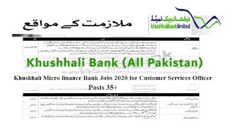 Khushhali Micro finance Bank 2020 Jobs for Customer Services Officer
