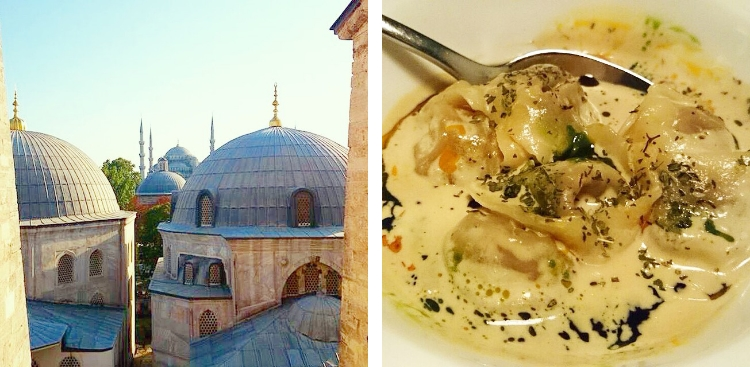 Euriental | Istanbul, Turkey. View from inside the Ayasofya, and Turkish ravioli at Yeni Lokanta.