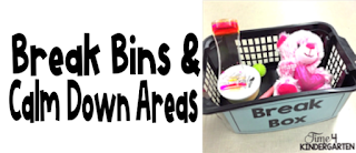 create a break bin or a calm down area in your classroom to help students avoid meltdowns.