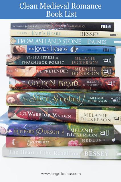 Clean Medieval Romance Book List by Jen Gallacher for www.jengallacher.com. #booklist #jengallacher #medievalromancebook