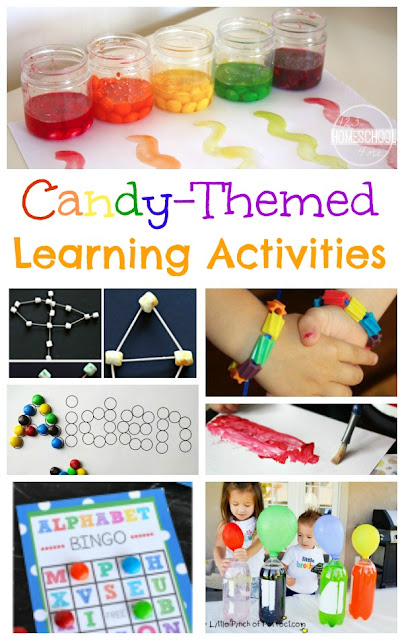 LOTS of Candy Themed Learning Activities! Perfect for making learning fun, using up extra Halloween candy, or celebrating National Candy Day November 4th. Ideas for preschool, prek, kindergarten, first grade, 2nd grade, 3rd grade, 4th grade, 5th grade, and 6th grade kids. Lots of fun kids activities!