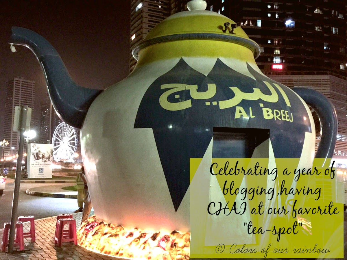 Celebrating a year of blogging at TEAPOT- cafe in Sharjah @colorsofourrainbow.blogspot.ae