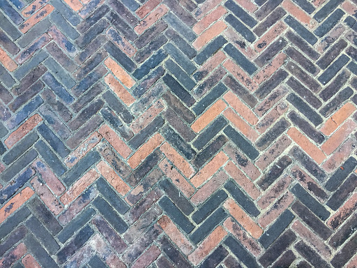 Herringbone Brick Pattern at Villa Terrace Museum of Decorative Arts in Milwaukee WI
