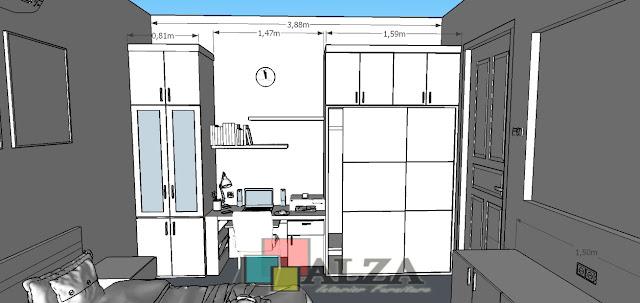 Sketsa design interior kamar minimalis