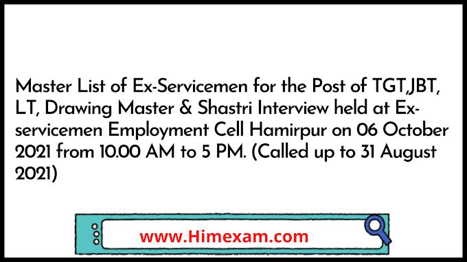 Master List of Ex-Servicemen for the Post of TGT,JBT, LT, Drawing Master & Shastri