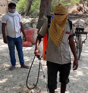 गांव को सेनेटाइज कर कोरोना के प्रति किया जागरूक   #NayaSaberaNetwork