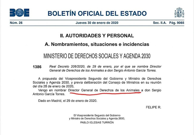 BOE, Director General de Derechos de los Animales