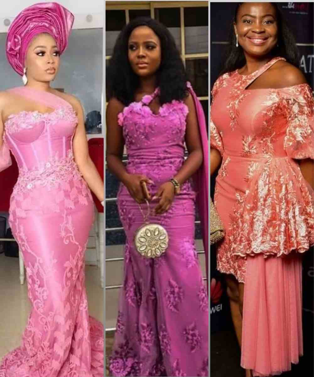 Pink Asoebi Styles with Lace