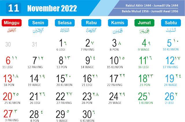 Kalender cdr November 2022 - kanalmu