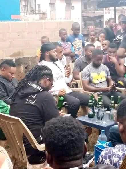 Popular Nigerian musician, Flavour N'Bania, whose real name is Chinedu Izuchukwu Okoli  was at his childhood street Enugu-Abor Street in Achara Layout Enugu on Saturday.