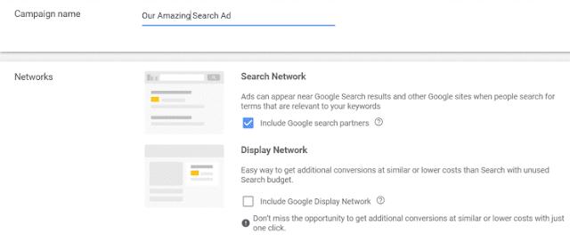 شراء إعلان على شبكة البحث في إعلانات Google