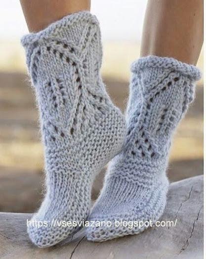 Вязаные носки-сапожки «Северный берег»