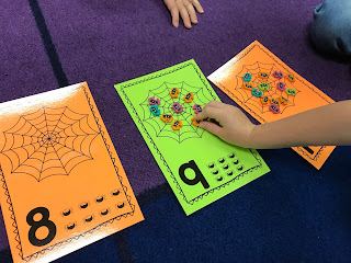 Spider Web Counting Cards, practice number recognition, counting, number order and one-to-one correspondence