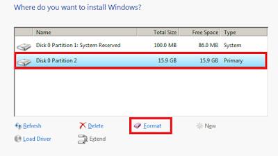 Maka muncul 2 buah partisi, Format Disk 0 Partition 2. Format > Ok.