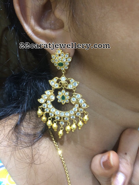 Silver Latest Chandbalis with CZ Stones