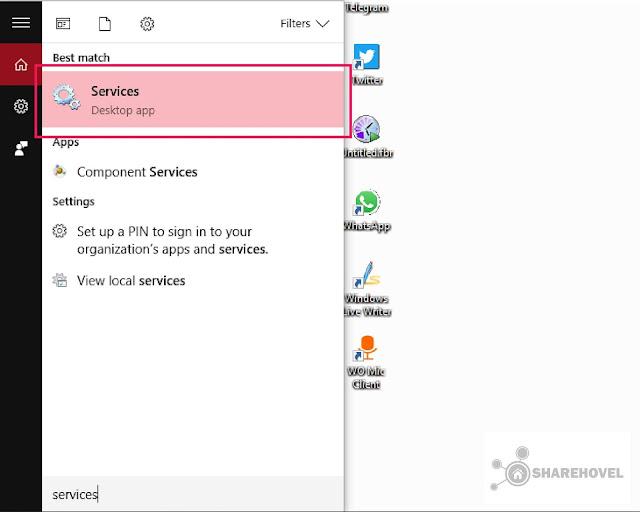 Jalankan Service - Cara Mudah Mematikan Menonaktifkan Windows Auto Update di Windows 10 - by sharehovel