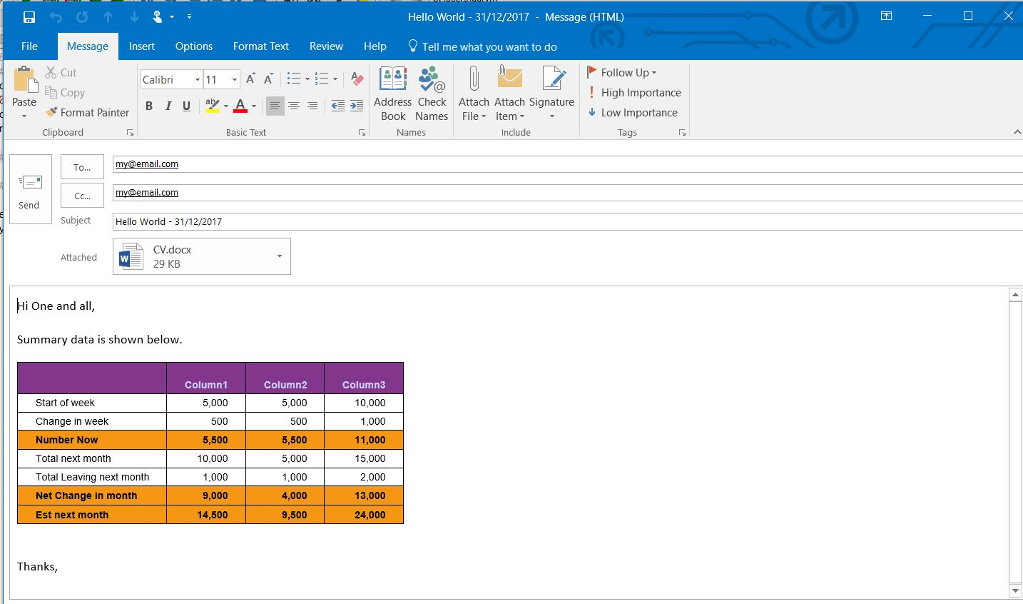 how to add html code in outlook email