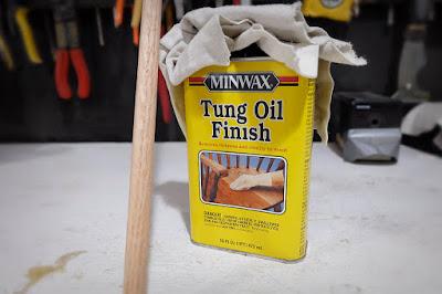sealing seal oil tung finish dowel pegboard