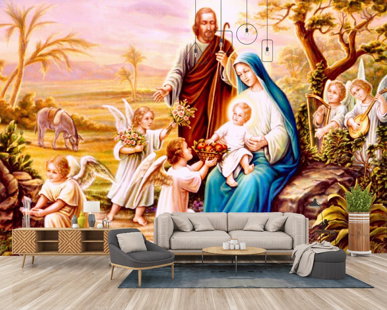 Tranh Dán Tường Gia Đình Thánh Gia Công giáo