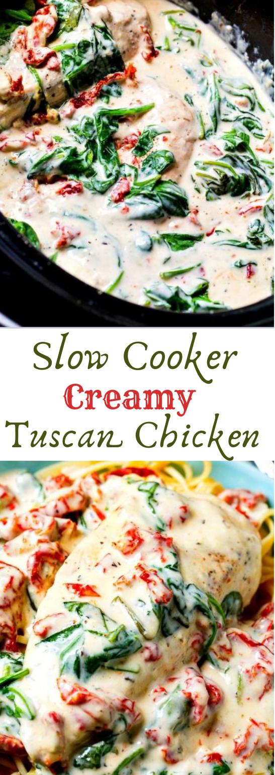 Slow Cooker Creamy Tuscan Chicken #vegetarian #tuscan