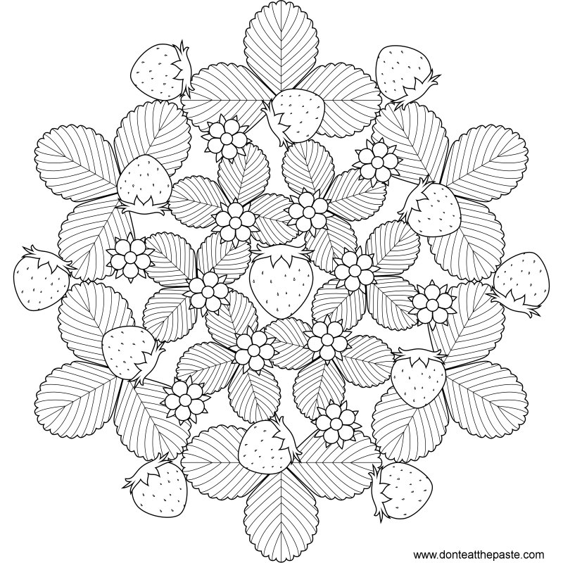 Strawberry mandala to print and color- also available in transparent PNG format