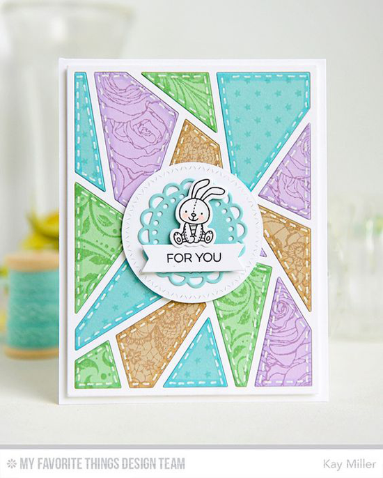 Bunny for You Card by Kay Miller featuring the Birdie Brown Adventure is Calling stamp set and Die-namics, the Roses All Over, Garden Flourish, Tiny Stars, and Lace background stamps, and the Zig Zag Stitched Circle, Mini Doily Circles, and Abstract Cover-Up Die-namics #mftstamps