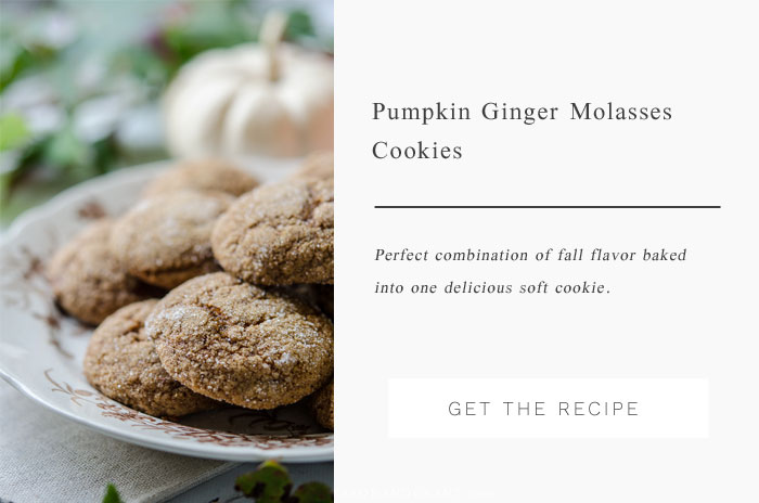 Perfect combination of fall flavors - pumpkin, ginger, and molasses - combined together into one delicious soft cookie recipe.