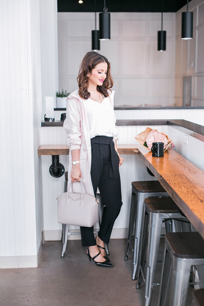 Blogger Outfit Pink Reitmans Pocket Raincoat in Rosewater White Shell Black Tailored Trousers Work Outfit