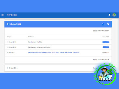 Pembayaran Google Adsense Bulan Juni 2014