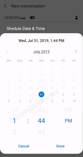 Just tap on the date to select a date from the calendar